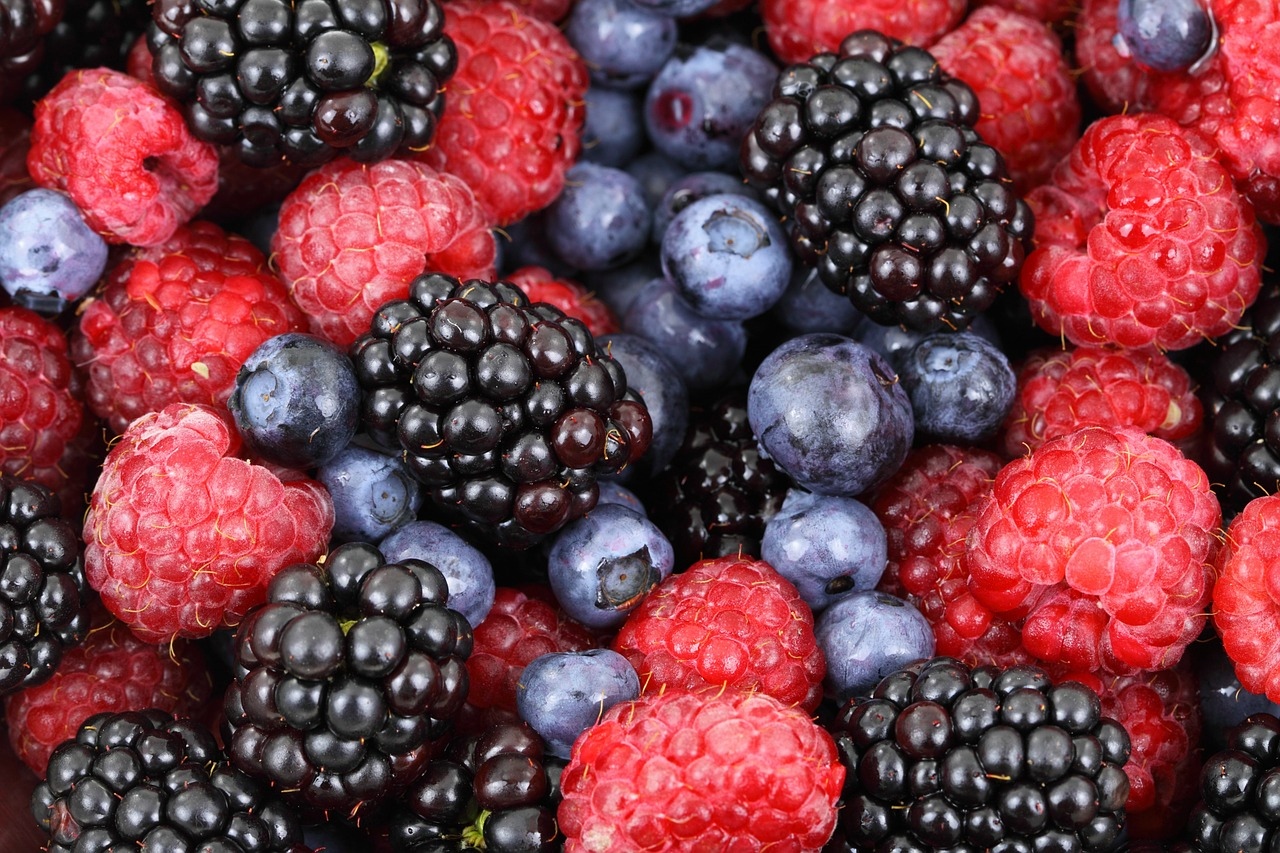 This is an image from Pixabay of fresh blueberries, blackberries, and raspberries. This image is great for use with digital menu boards.