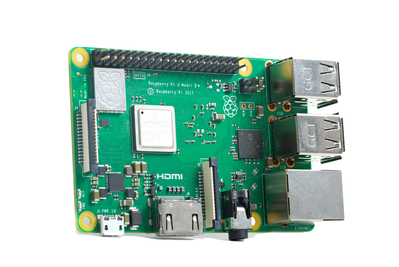 This image is of the new Raspberry Pi 3 Model B+ that is now supported by Screenly.
