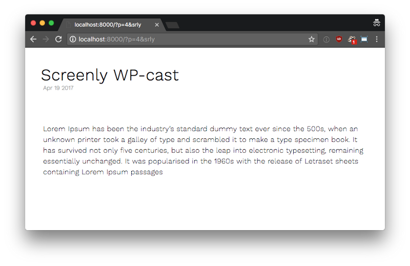 Screenly Cast for WordPress rendered in the resolution 800x480