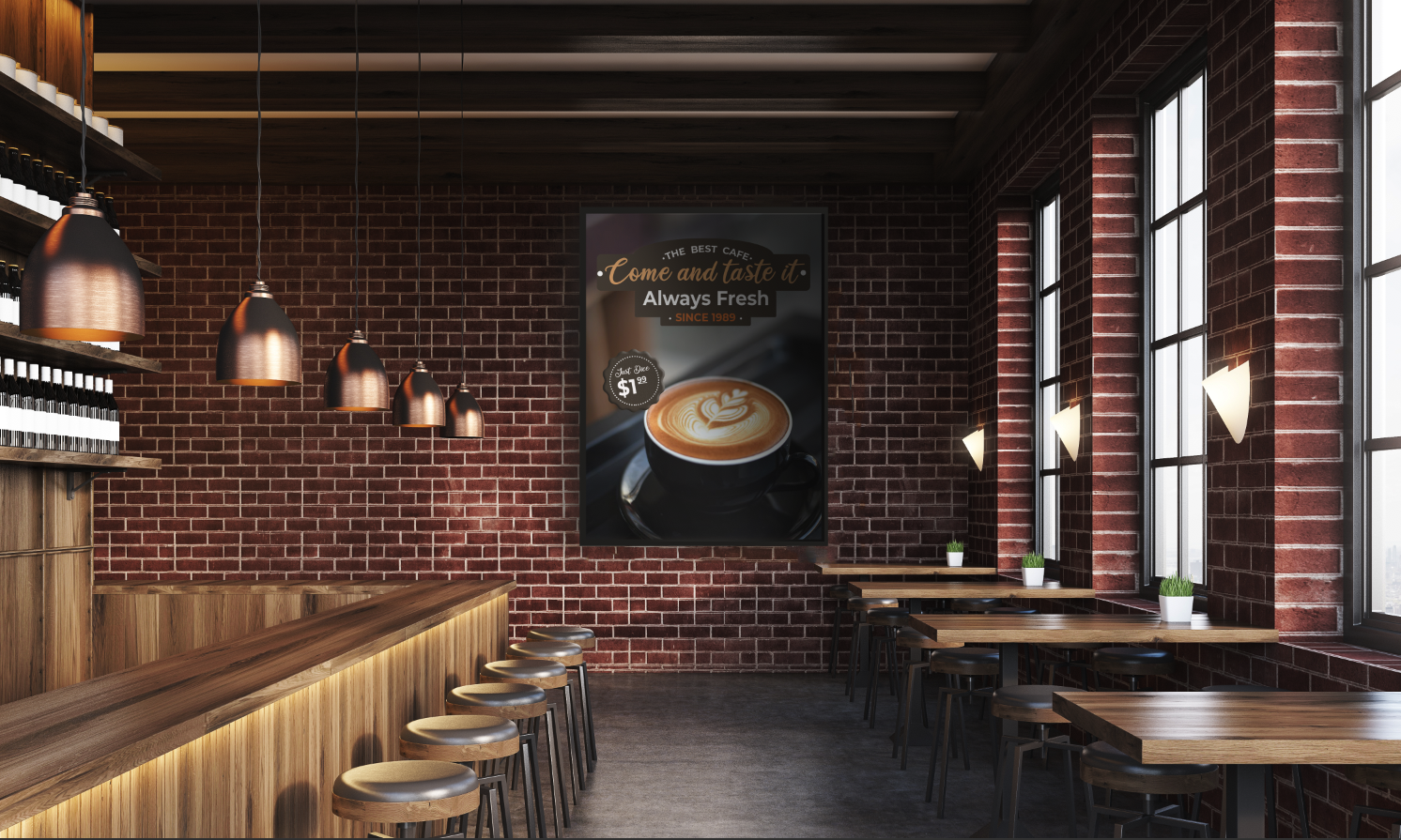 Screenly provides a powerful platform to setup and manage coffee shop digital signage.
