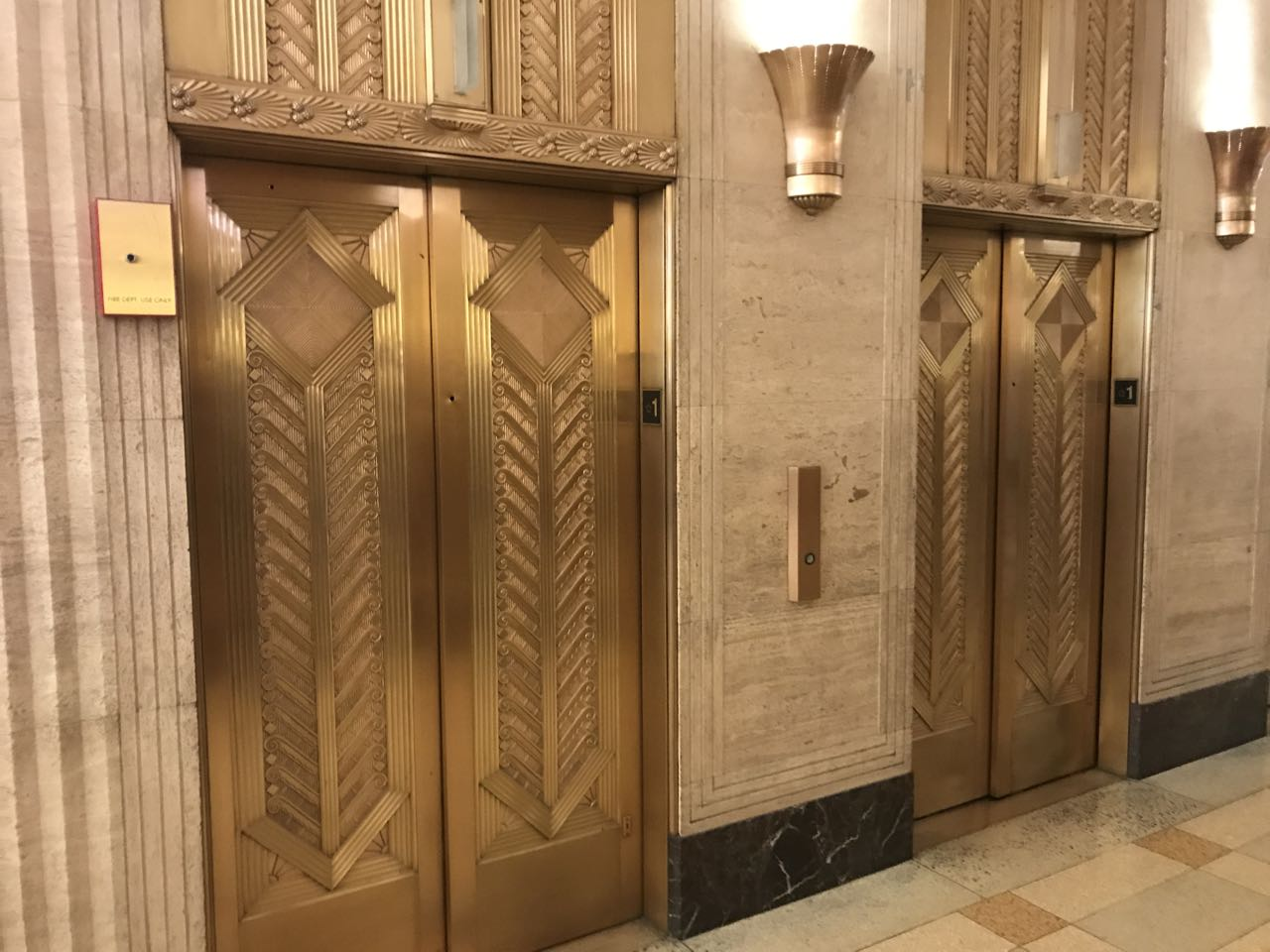 The elevators at Merchandise Mart from the outside.